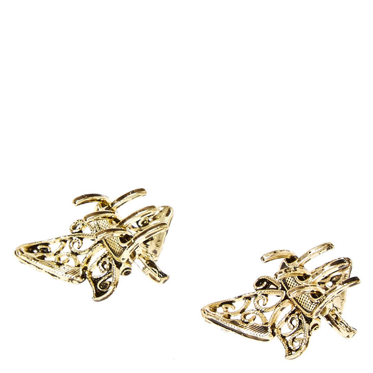 Rustic Gold Butterfly Hair Claws - 2 Pack,