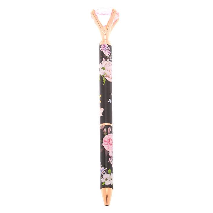 Rose Gold Floral Diamond Top Pen - Black,
