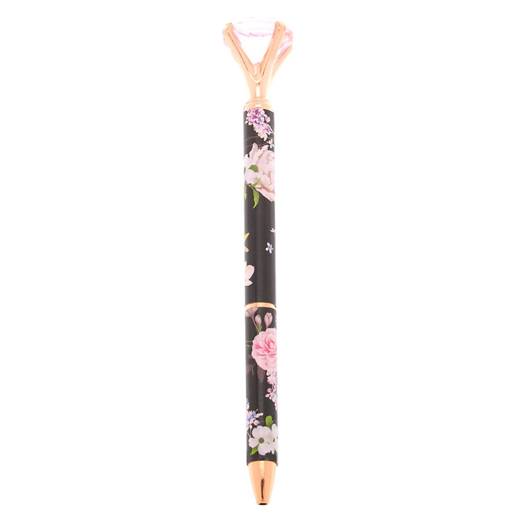 527eba8d82 Rose Gold Floral Diamond Top Pen - Black | Icing US