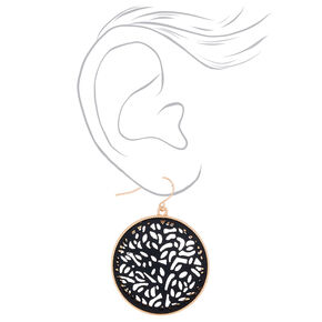 "Gold 1.5"" Round Filigree Fabric Drop Earrings - Black,"