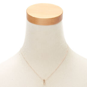 Rose Gold Cursive Initial Pendant Necklace - L,