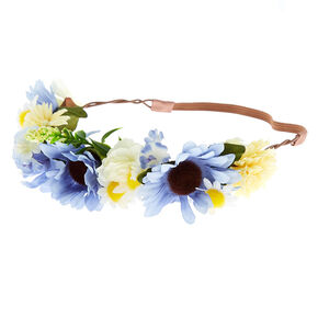 Mixed Daisy Flower Crown Headwrap - Blue,
