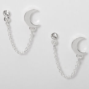 Silver Embellished Moon Connector Chain Stud Earrings,