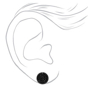 Black Pave Rhinestone Stud Earrings,