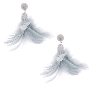 "3"" Feather Duster Earrings - Gray,"