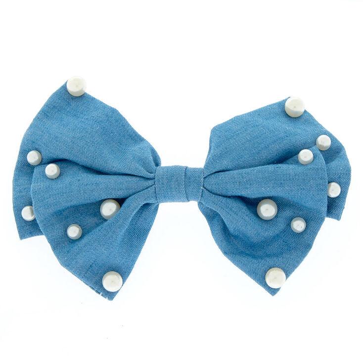 Denim + Pearl Hair Bow Clip,