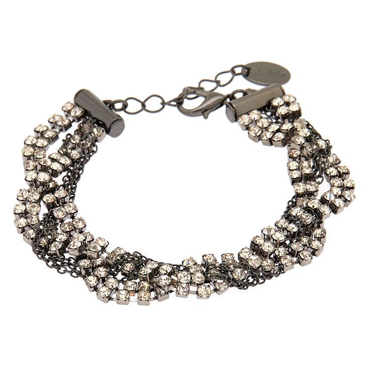 Hematite Glass Rhinestone Braided Statement Bracelet,