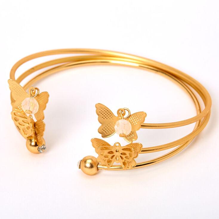Gold Butterfly Beaded Cuff Bracelets - 3 Pack,