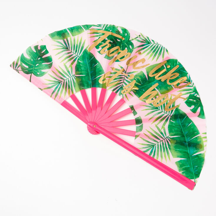 Tropic Like It's Hot Palm Leaf Folding Fan - Pink,