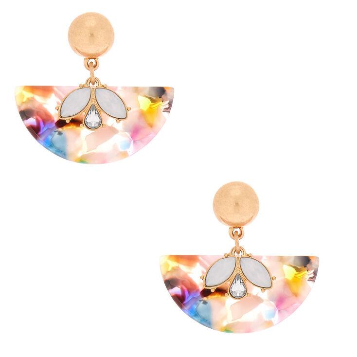 """1.5"""" Resin Painted Fan Drop Earrings,"""