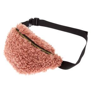 Mongolian Faux Fur Fanny Pack - Pink,