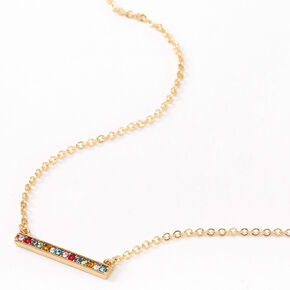 Gold Rainbow Bar Pendant Necklace,