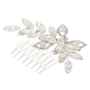 Silver-Tone Glass Stone Leaf Hair Comb,