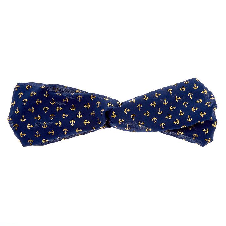 Navy Anchor Knotted Headband,