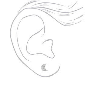 Sterling Silver Crystal Moon Stud Earrings,