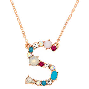 Embellished Long Initial Pendant Necklace - S,