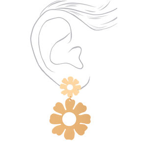 "Gold 2.5"" Double Daisy Drop Earrings,"