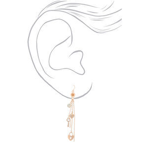 "Rose Gold 3.5"" Chain Drop Earrings,"