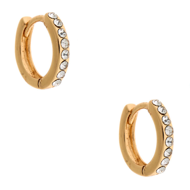 Gold 10MM Crystal Huggie Hoop Earrings,