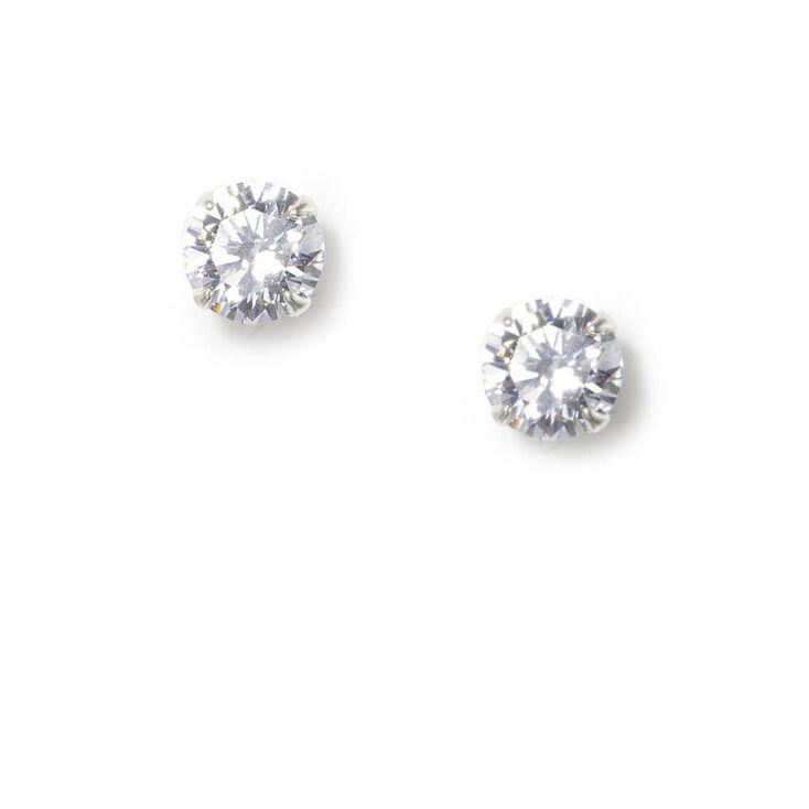 Sterling Silver Cubic Zirconia 7MM Martini Stud Earrings,