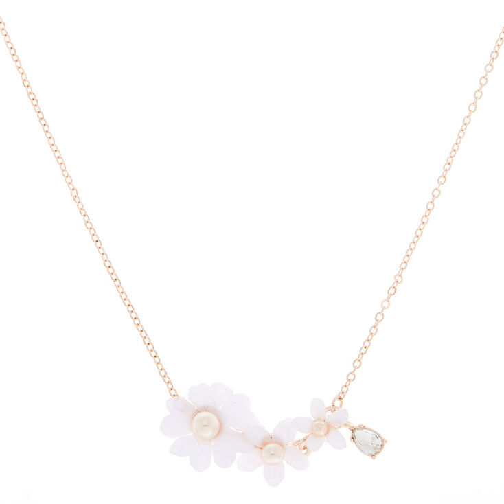 Rose Gold Floral Rhinestone & Pearl Pendant Necklace,