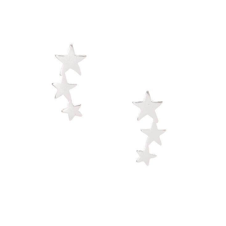 Sterling Silver Star Lineup Earrings,
