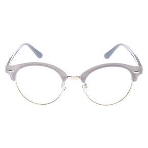 Velvet Browline Clear Lens Frames - Gray,
