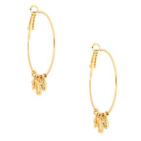 Gold 40MM Celestial Hoop Earrings,