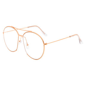 Rose Gold Oversized Aviator Frames,