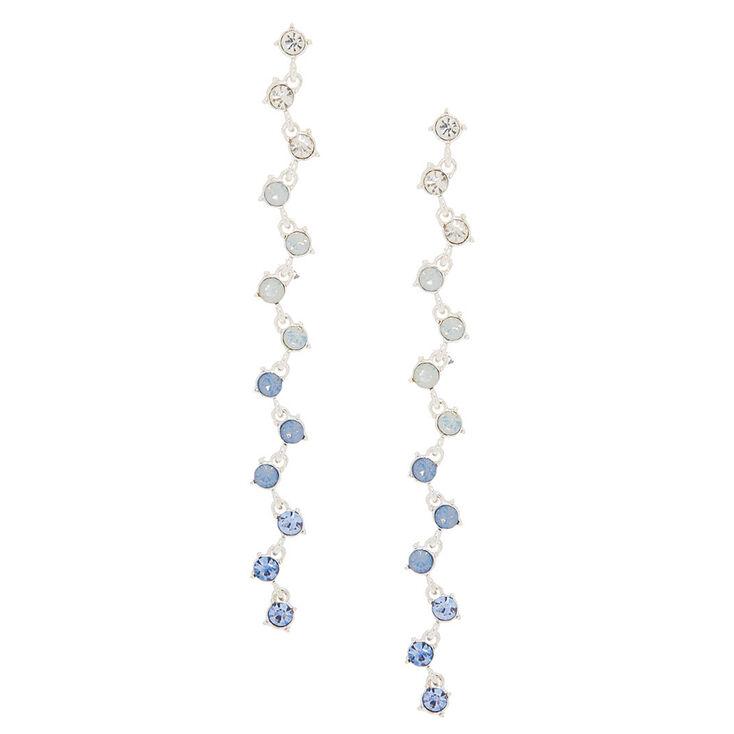 """Silver Glass Rhinestone 4"""" Zig Zag Drop Earrings - Blue,"""