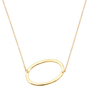 Oversized Initial Pendant Necklace - O,
