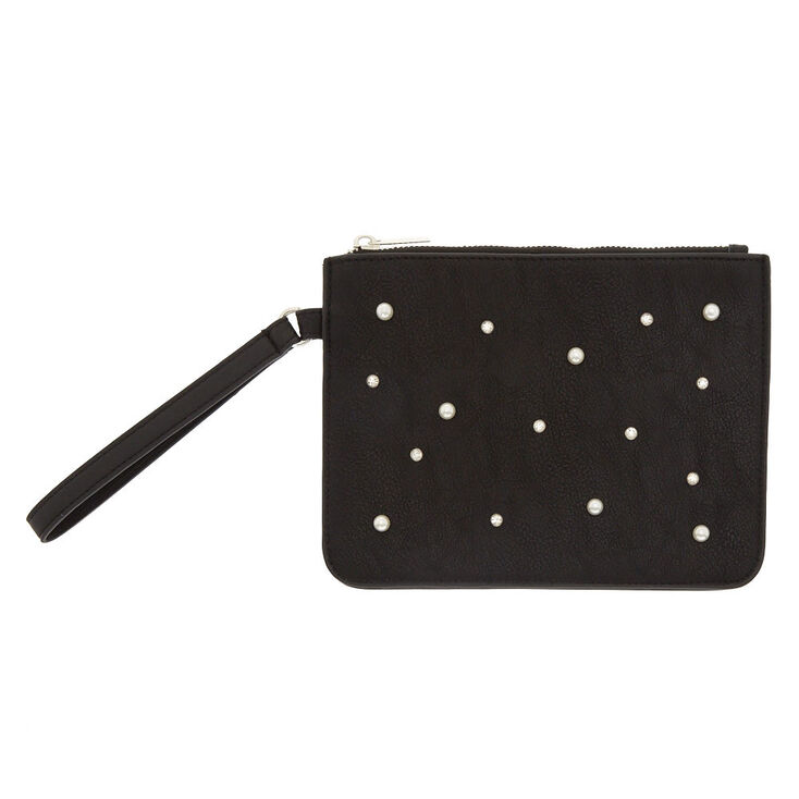 Black Pearl & Crystal Faux Leather Wristlet,