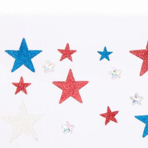 Red, White & Blue Glitter Star Body Stickers,