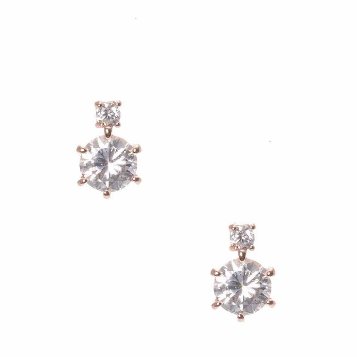 Rose Gold Cubic Zirconia Stud Earrings