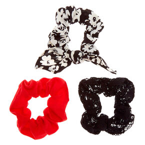 Classy Floral Lace Hair Scrunchies - Black, 3 Pack,