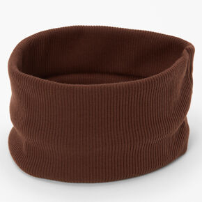 Flat Ribbed Headwrap - Brown,