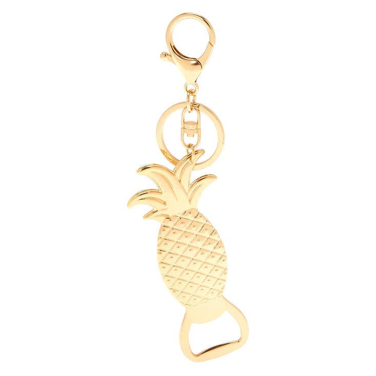 Pineapple Bottle Opener Keychain - Gold,