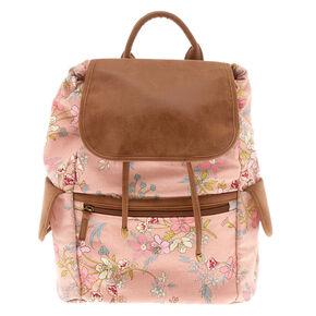 Floral Flap Medium Backpack - Pink,