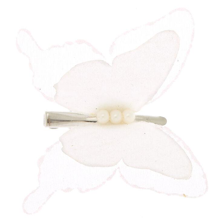 Chiffon Butterfly Hair Clip - White,