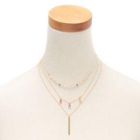 Gold Beaded Stone Multi Strand Choker Necklace,