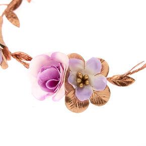 Metallic Rose Gold Flower Crown Tie Headwrap - Lilac,