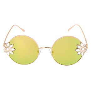 Floral Embellishment Round Sunglasses - Rose Gold,