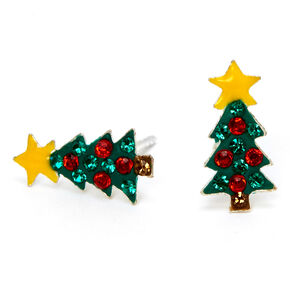 Sterling Silver d & Green Holiday Tree Stud Earrings,
