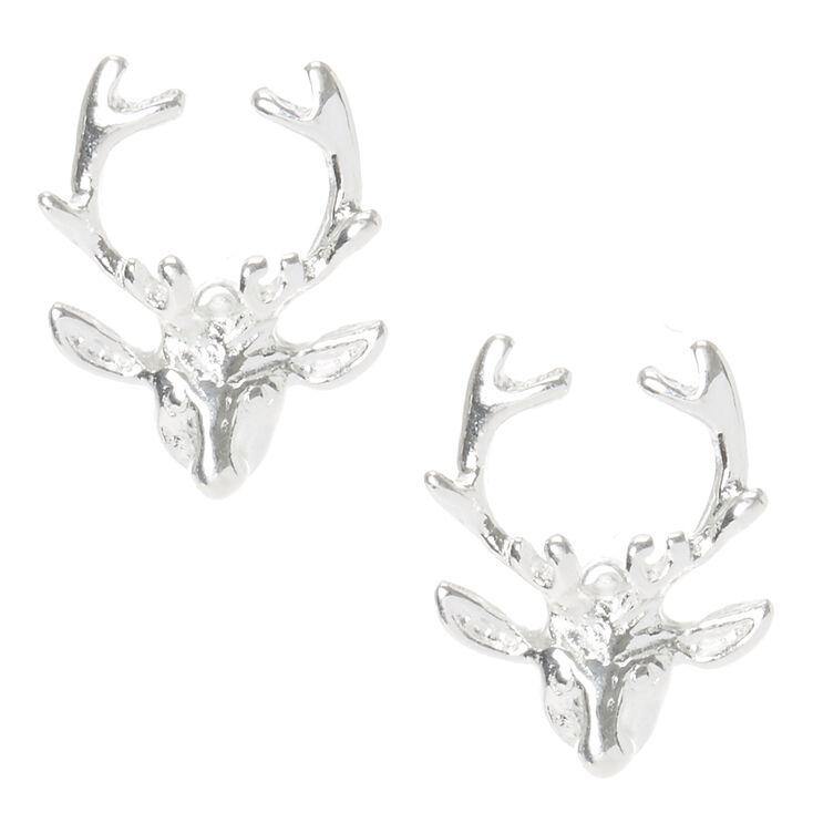 Sterling Silver Antler Stud Earrings,