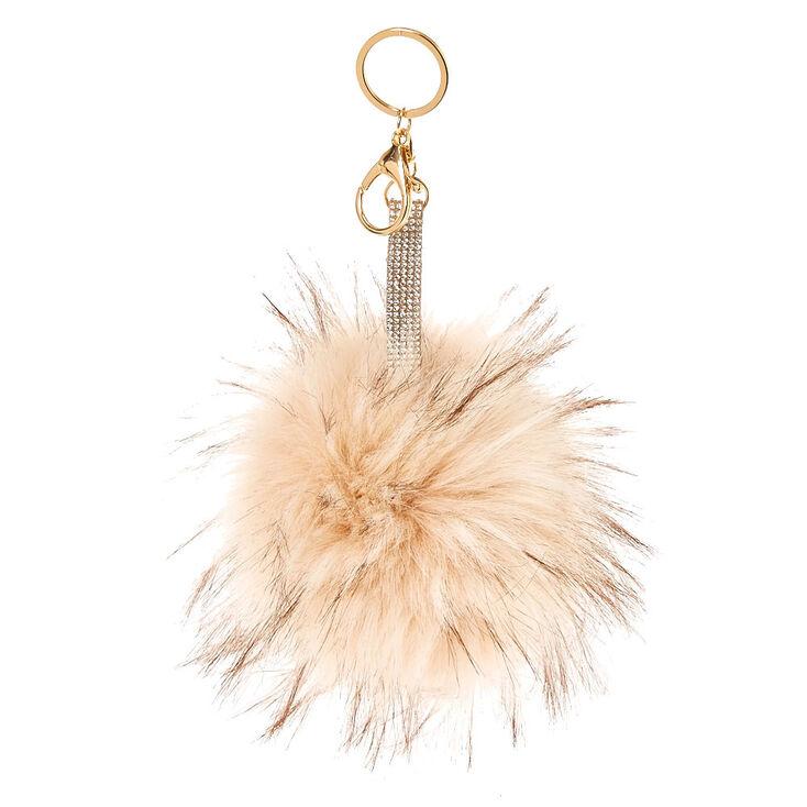 Ivory Faux Fur Pom Pom Keychain,