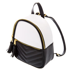 Quilted Chevron Black & White Midi Backpack,