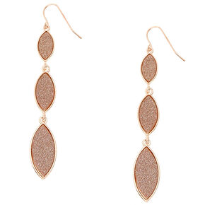 Rose Gold Glitter Tiered Drop Earrings,