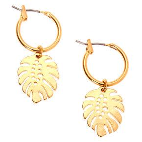 Gold 10MM Leaf Charm Hoop Earrings,