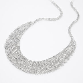 Silver Rhinestone Cleopatra Bib Statement Necklace,