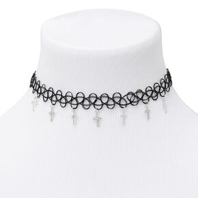 Cross Tattoo Choker Necklace - Black,